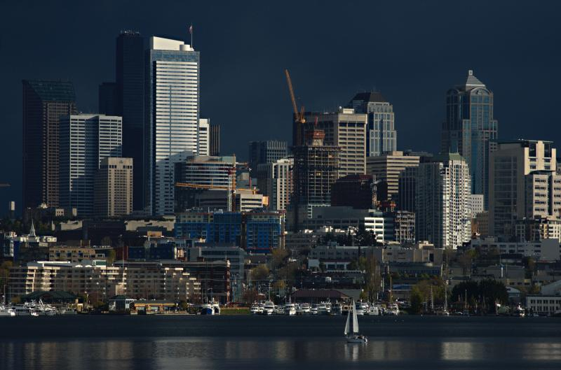 Late light on downtown from Lake Union