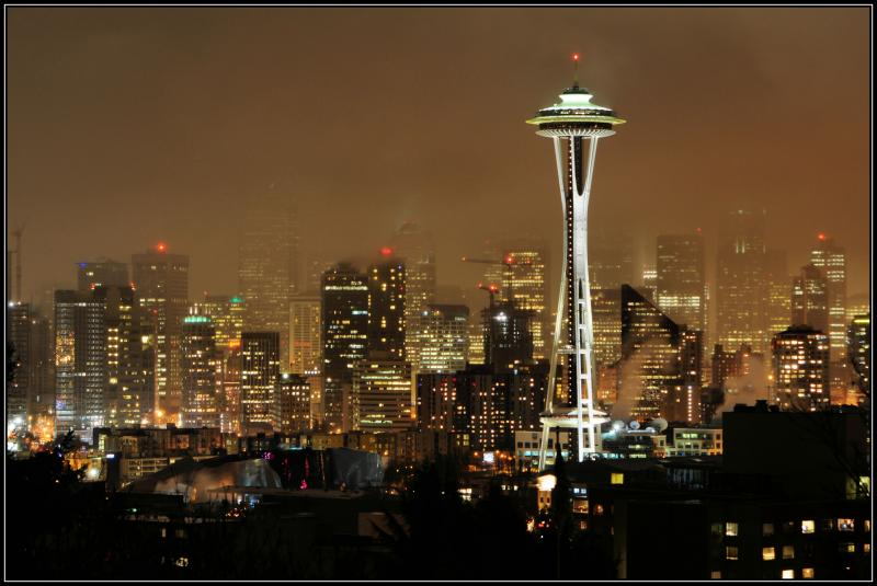 Space Needle in therain