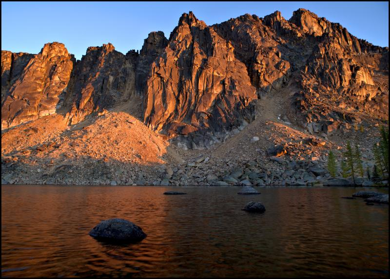 Upper Cathedral Lake and Amphitheater Mountain at sunset